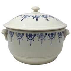 English Blue and White Antique Ironstone Tureen