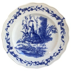 English Blue and White Plate Hare and Frogs Brown Westhead and Moore, circa 1890