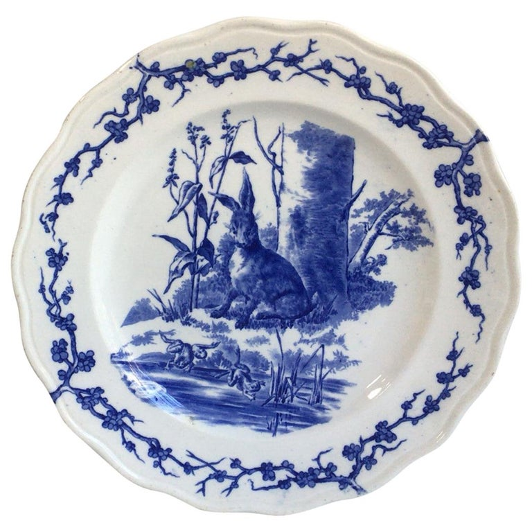 English Blue and White Plate Hare and Frogs Brown Westhead and Moore, circa 1890 For Sale