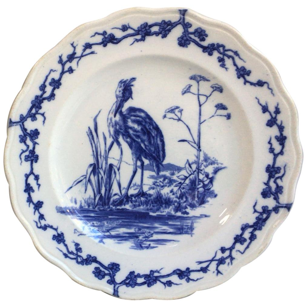 English Blue and White Plate Heron Brown Westhead and Moore, circa 1890