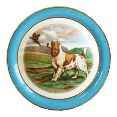 English Blue and White Porcelain Jewelry Dish with Spaniel Dog and Bird