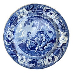 English Blue and White Phillips Longport Porcelain Plate, Marked, circa 1825