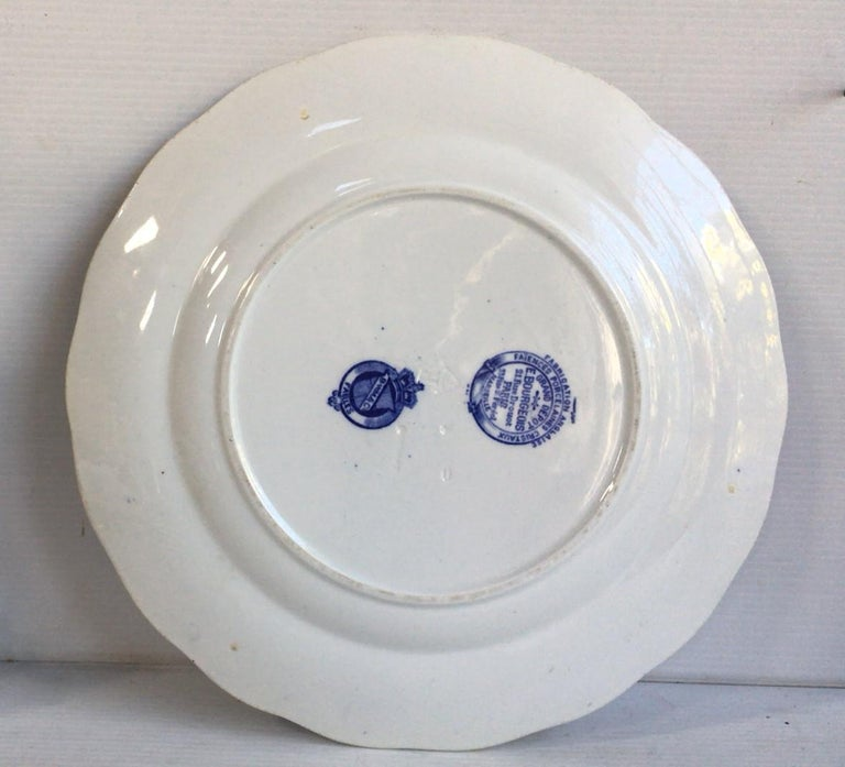 English blue and white plate hare and frogs Brown Westhead and Moore, circa 1890. Was sold in the Grand Depot 21 rue Drouot Paris. Fontaine / Aesops Fables English Losange mark.