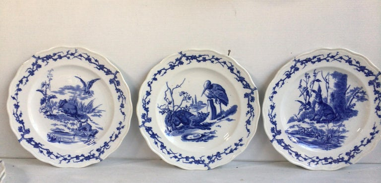 Country English Blue and White Plate Hare and Frogs Brown Westhead and Moore, circa 1890 For Sale