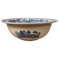 English Blue Willow Porcelain Bowl by Wedgwood, Impressed Mark, circa 1880