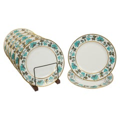 English Bone China Dessert Dishes a Set of Eight Turquoise Made Mid-20th Century