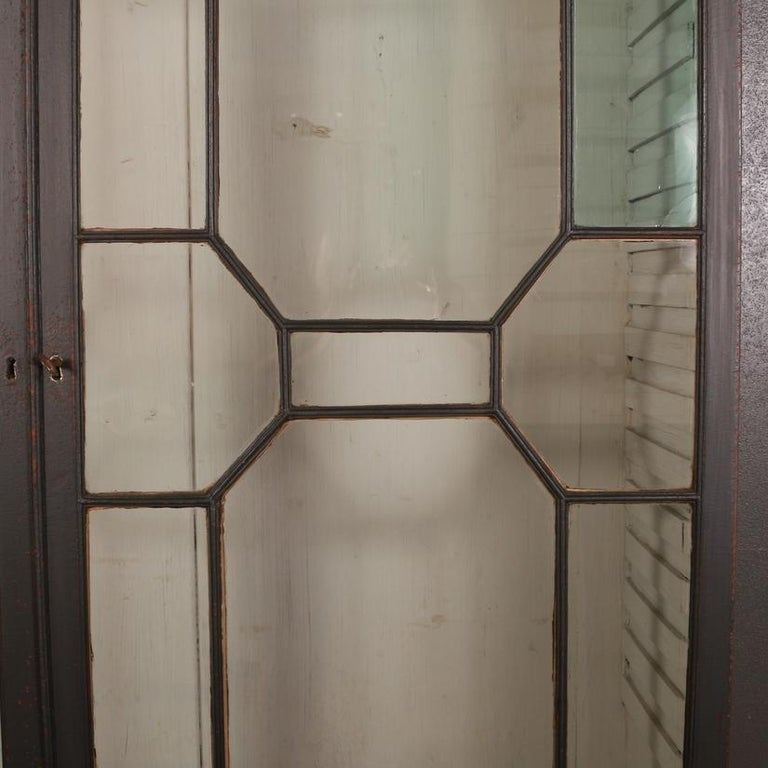Wood English Bookcase or Display Cupboard For Sale