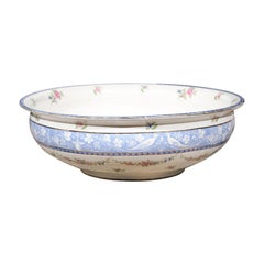 English Booth's China Cameo Pattern Bowl with Roses, Blue and White Pheasants
