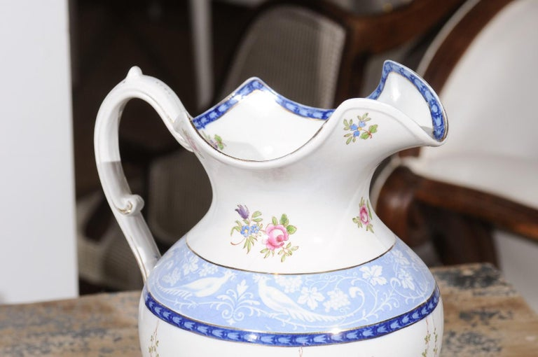 20th Century English Booth's China Pitcher with Pink Roses and Blue and White Pheasants For Sale