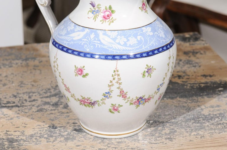 Ceramic English Booth's China Pitcher with Pink Roses and Blue and White Pheasants For Sale