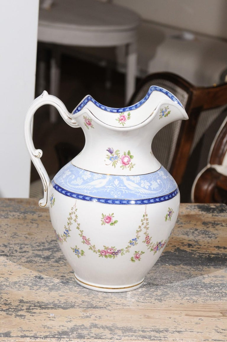 English Booth's China Pitcher with Pink Roses and Blue and White Pheasants For Sale 1