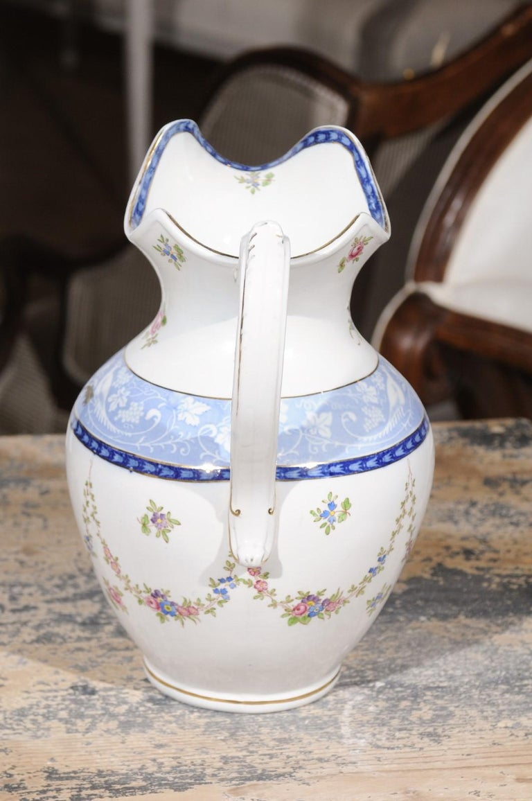 English Booth's China Pitcher with Pink Roses and Blue and White Pheasants For Sale 2