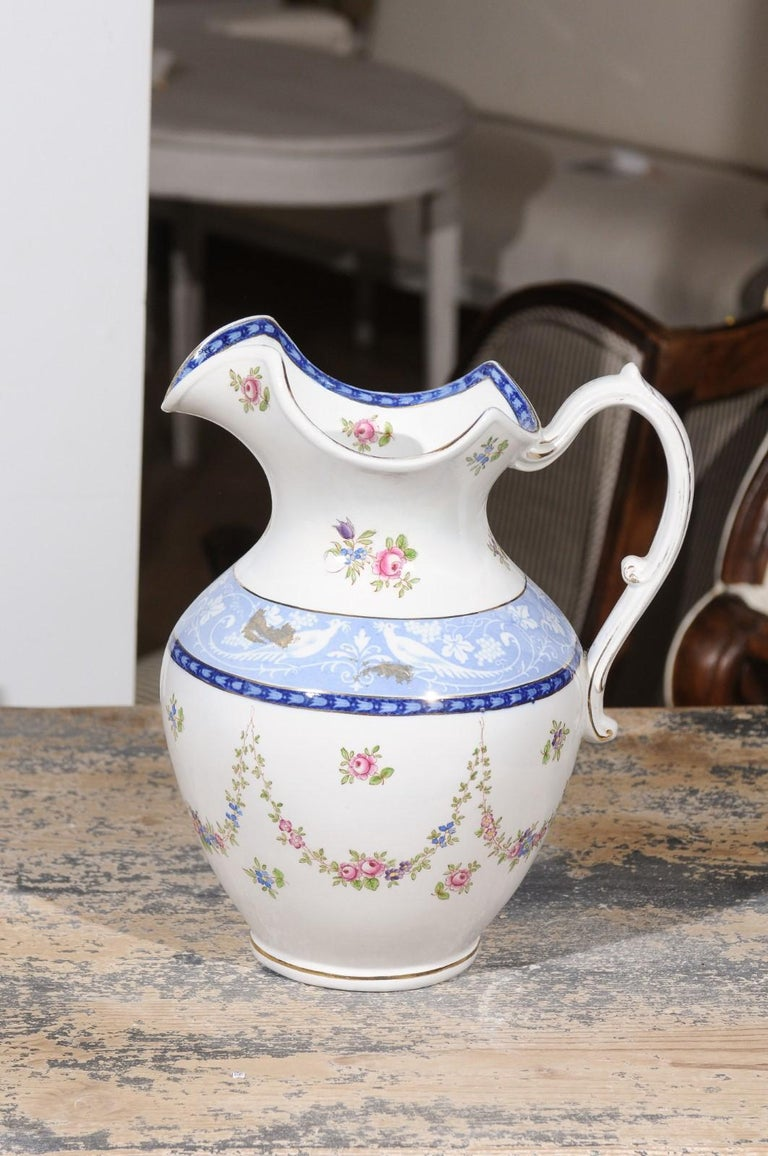 English Booth's China Pitcher with Pink Roses and Blue and White Pheasants For Sale 3