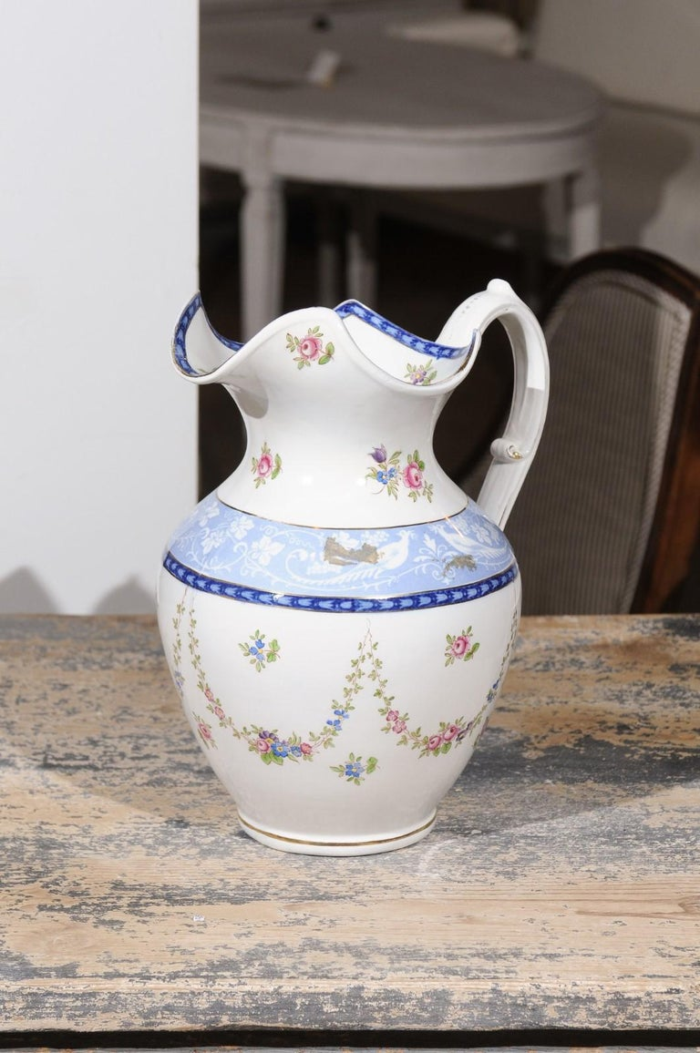 English Booth's China Pitcher with Pink Roses and Blue and White Pheasants For Sale 4