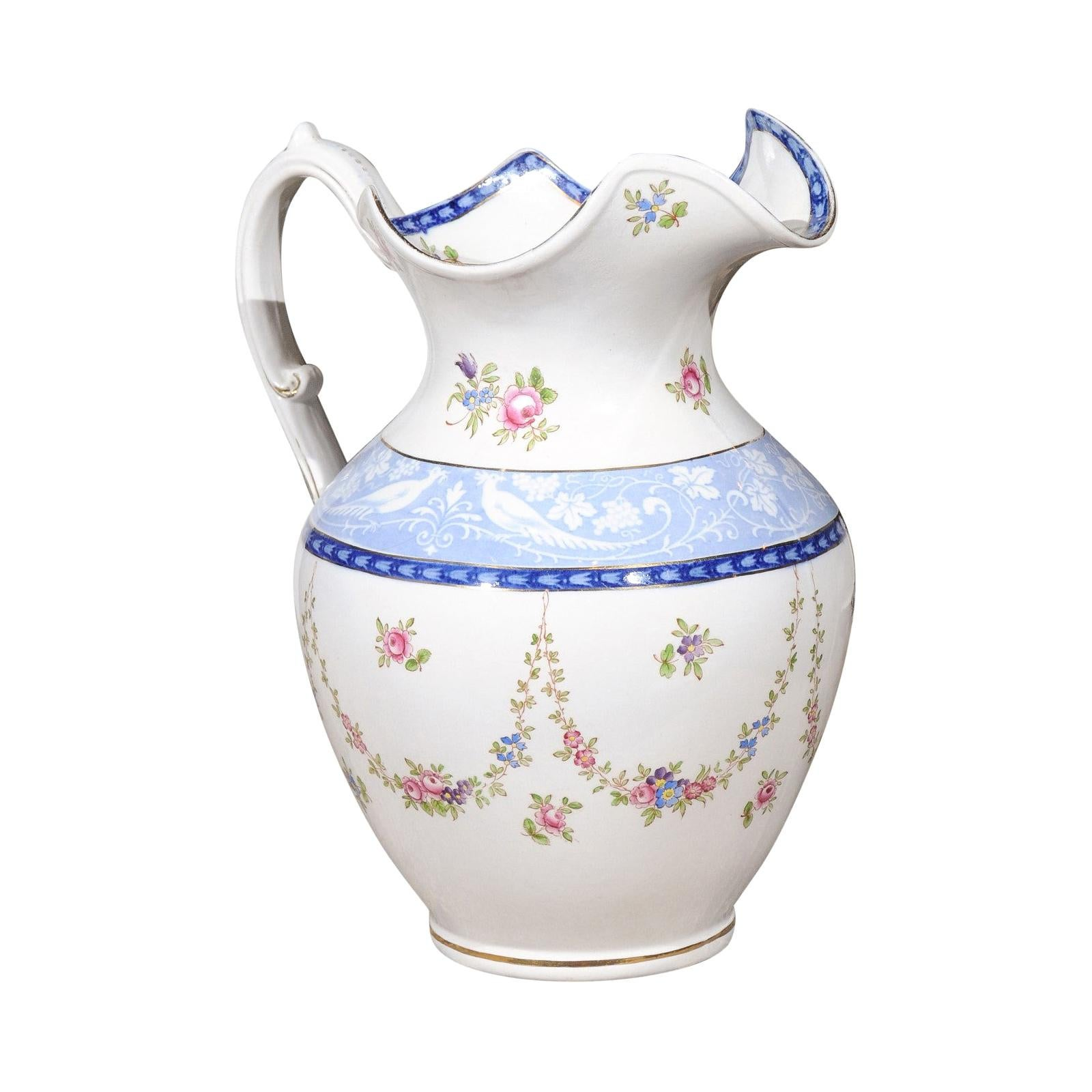 English Booth's China Pitcher with Pink Roses and Blue and White Pheasants