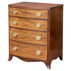 English Bow Front Chest of Flame Cut Mahogany