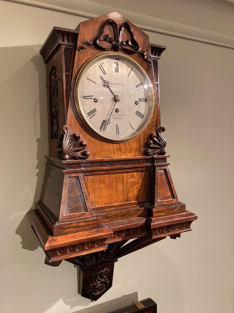 19th Century English Bracket Clock of Walnut in the Egyptian Style For Sale