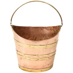 English Brass-Bound Copper Bucket