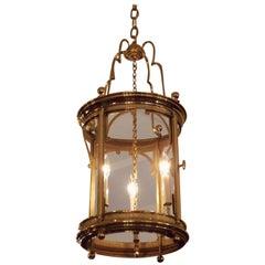 English Brass Circular Hanging Hall Lantern with Interior Cluster, Circa 1840