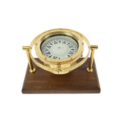 English Brass Compass on Wooden Board 1930s