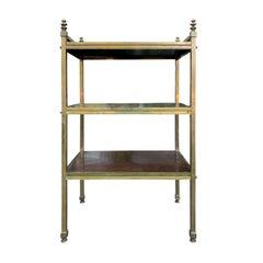English Brass Étagère, Three Wood Shelves, circa 1880-1900