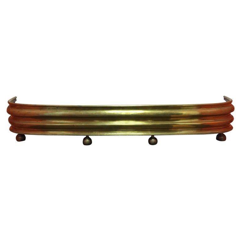 English Brass Fireplace Fender on Feet, 19th Century For Sale