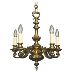 English Brass Five-Light Antique Chandelier
