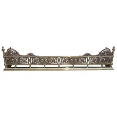 English Brass Gallery Foliage Fire Place Fender with Flanking Finials circa 1820