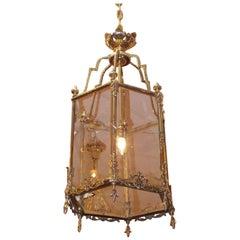 English Brass Hanging Beaded Hall Glass Lantern with Interior Light, Circa 1800