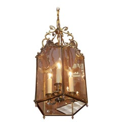 English Brass Floral Hanging Hall Glass Lantern with Interior Cluster, C. 1820