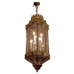 English Brass Hanging Glass Hall Lantern with Decorative Medallions, Circa 1840