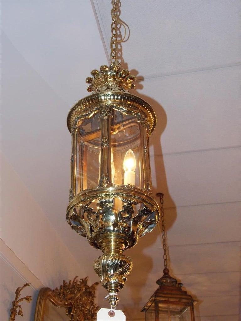 English Brass Hexagon Decorative Dome And Glass Hanging Hall Lantern Circa 1830 For Sale At 1stdibs