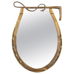 English Brass Horse Shoe Mirror