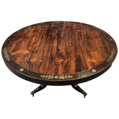 English Brass Inlaid Rosewood Center or Dining Table, circa 1830