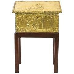 English Brass Kindling Box on Stand