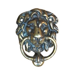 English Brass Lion Head Door Knocker