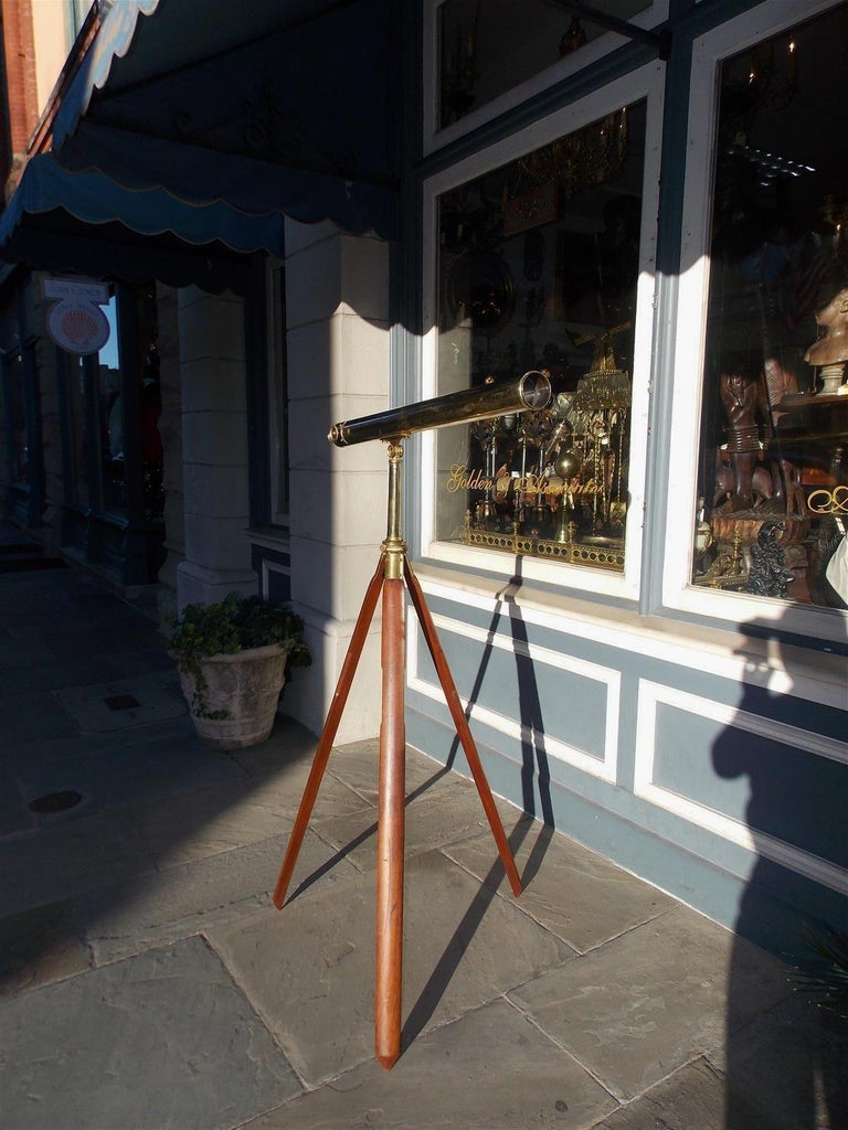 British Colonial English Brass Mounted Telescope on Walnut Tripod Stand with Case, Circa 1870 For Sale