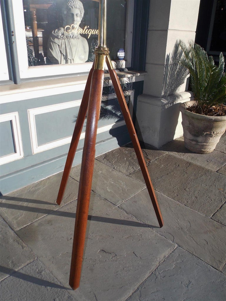 English Brass Mounted Telescope on Walnut Tripod Stand with Case, Circa 1870 For Sale 2