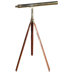 English Brass Mounted Telescope on Walnut Tripod Stand with Case, Circa 1870