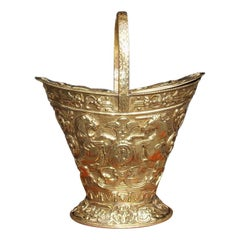 English Brass Navette Form Coal Hod with Flanking Unicorn & Lion Crest. C. 1850
