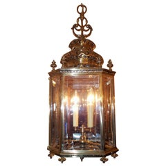 English Brass Octagon Decorative Dome and Beveled Glass Hall Lantern, Circa 1820