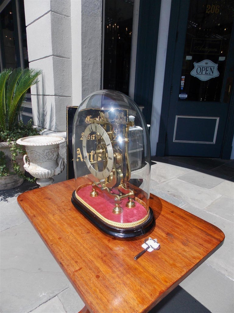 Victorian English Brass & Polished Steel Skeleton Clock Under Glass Dome T. Mapple C 1850 For Sale
