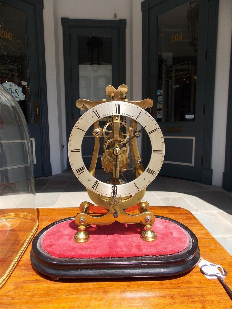 English Brass & Polished Steel Skeleton Clock Under Glass Dome T. Mapple C 1850 In Excellent Condition For Sale In Charleston, SC