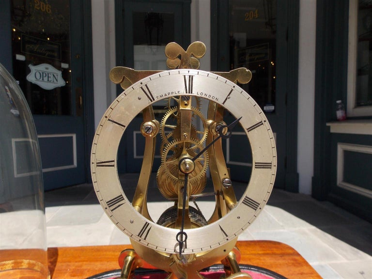 English Brass & Polished Steel Skeleton Clock Under Glass Dome T. Mapple C 1850 For Sale 1