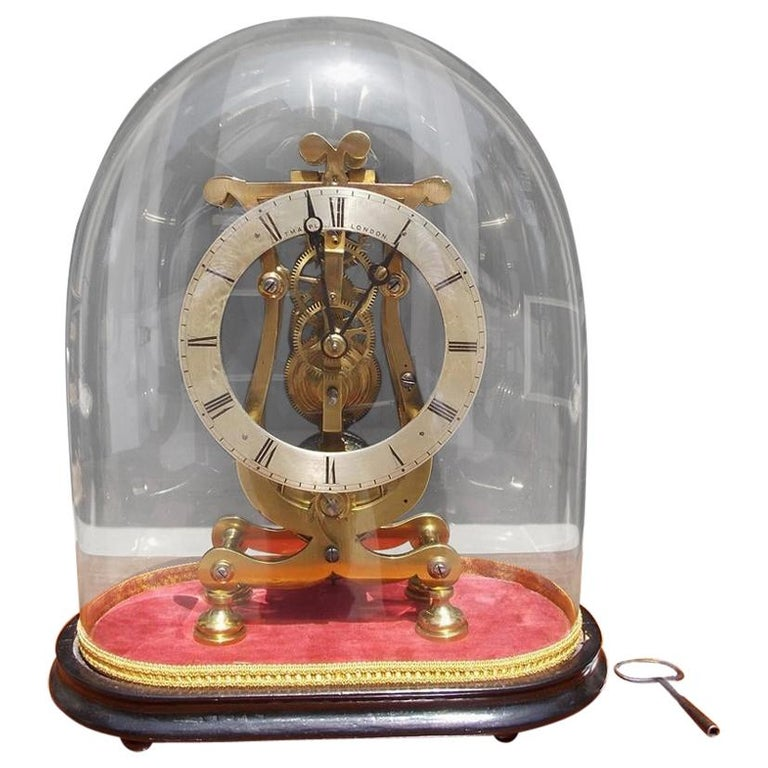 English Brass & Polished Steel Skeleton Clock Under Glass Dome T. Mapple C 1850 For Sale