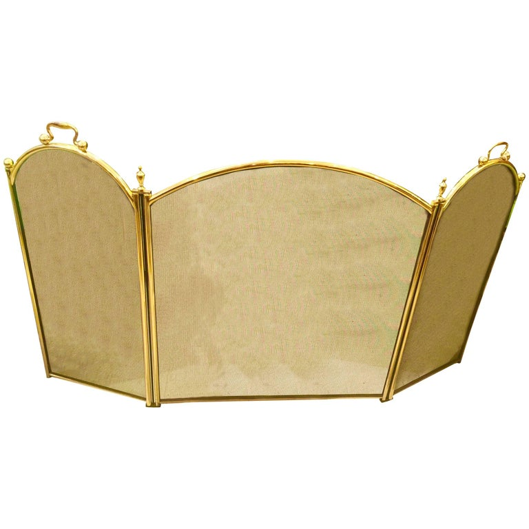 English Brass Regency Style Folding Fire Screen