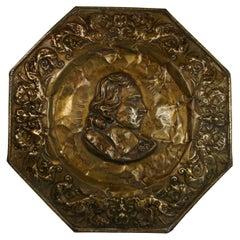 English Brass Repousse Wall Panel Depicting Milton