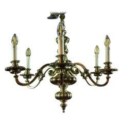 English Brass Six-Arm Chandelier