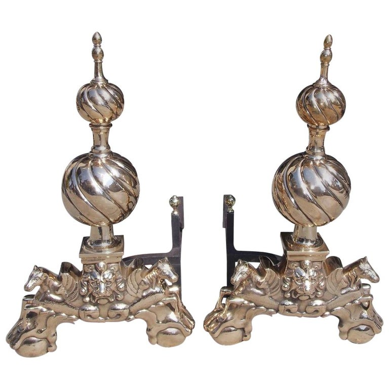 Pair of English Brass Spiral Ball Andirons with Flanking Lion & Pegasus. C. 1840 For Sale