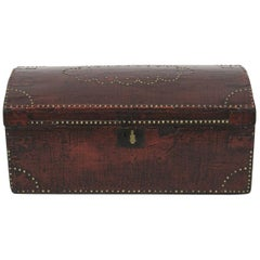 English Brass Studded Painted Trunk